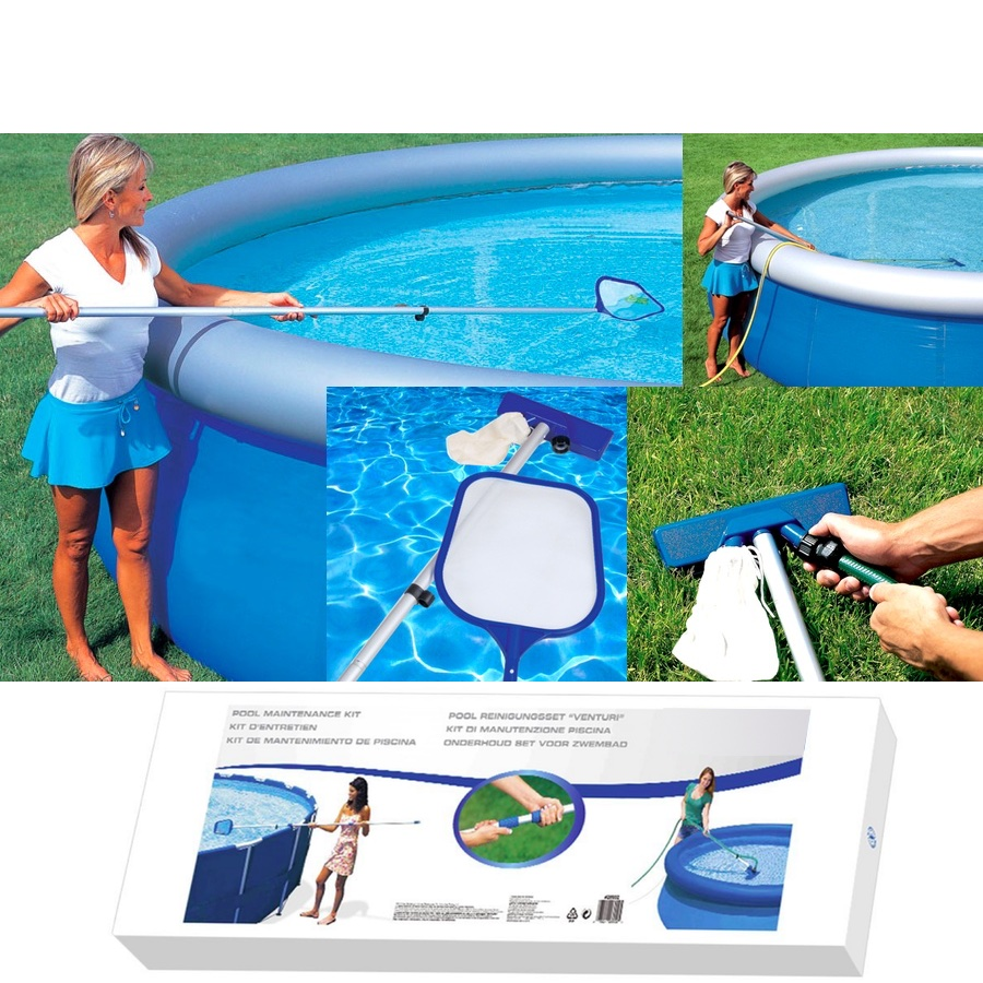 Swimming Pool Hot Tub Pond Spa Cleaning Maintenance Kit Vacuum Skimmer Set